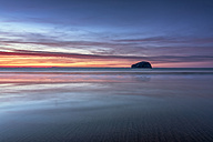 UK, Scotland, East Lothian, Bass Rock at sunset from Seacliff beach - SMAF00745