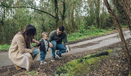 Family with little boy in forest in autumn - DAPF00715