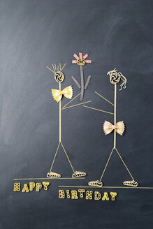 Pasta image with male and female likeness at birthday - MYF01916