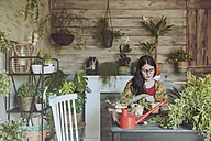 Young woman planting cactuses - RTBF00877
