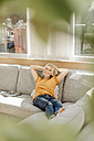 Woman at home relaxing on couch - JOSF00914