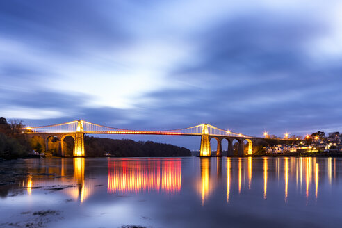 UK, Wales, Anglesey, Menai Suspension Bridge - SMAF00747