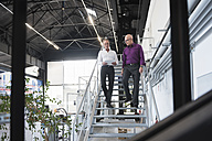 Two businessmen with tablet walking down stairs in factory shop floor - DIGF02483