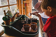 Father and son watering seeds - NMSF00107
