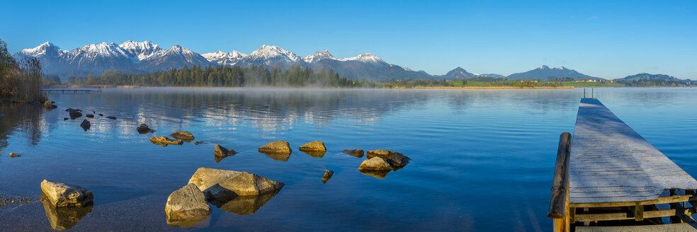 Germany, Bavaria, Allgaeu, Lake Hopfensee in the morning - WGF01081
