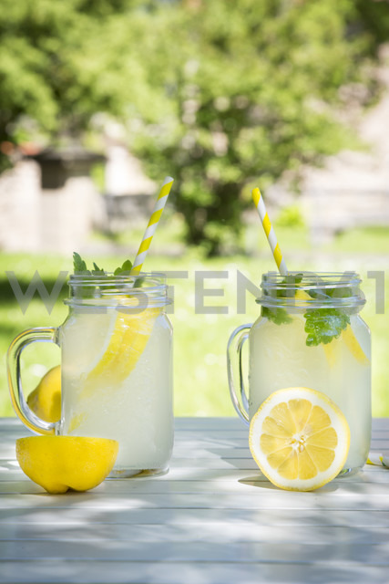 Two glasses of cooled lemonade flavoured with lemon balm - LVF06120