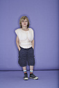Portrait of cool little boy dressed up as muscleman - FSF00876