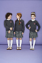Three girls wearing school uniform - FSF00885