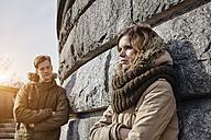 Germany, Potsdam, displeased young couple at Glienicke Bridge - ANHF00031