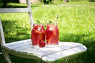 Two glasses of homemade strawberry lemonade - LVF06136