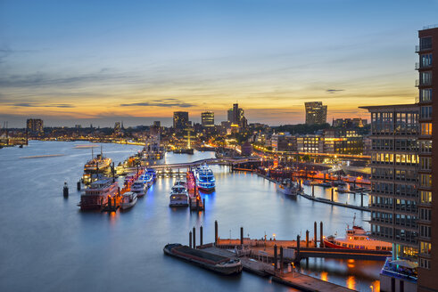 Germany, Hamburg, Niederhafen at sunset seen from Elbe Philharmonic Hall - RJF00696
