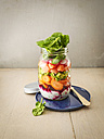 Preserving jar of various vegetables with salmon - KSWF01808