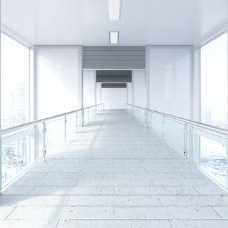 Empty passageway in a modern office building, 3D Rendering - UWF01178