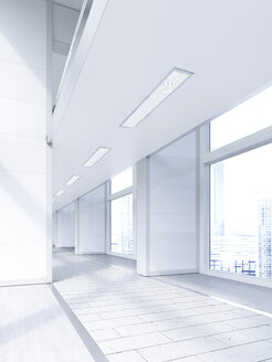 Empty lobby in a modern office building, 3D Rendering - UWF01181