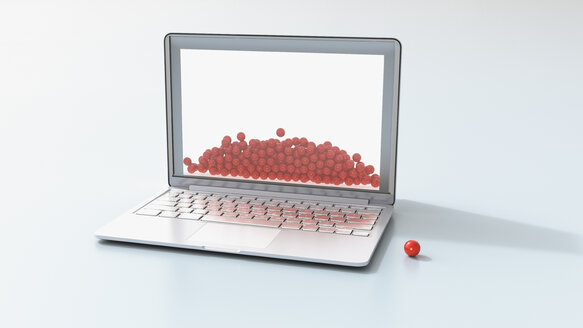 Laptop and red balls, 3D Rendering - UWF01187