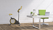 Workspace with Elliptical trainer, 3D Rendering - UWF01202