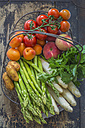 Wire basket of various fruits and vegetables - ODF01506