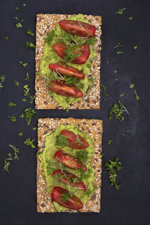 Crispbread with seeds, avocado dip, tomato slices, parsley and cress - ODF01512