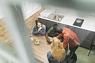 Colleagues having a break in office kitchen - JRFF01327
