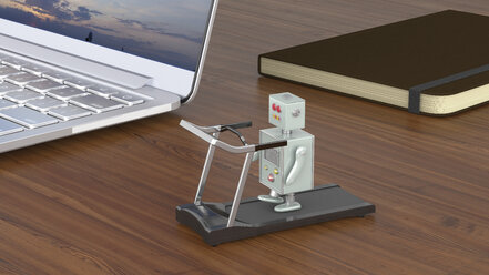 Little robot exercising on treadmill, standing on a desk with laptop and notebook - UWF01205