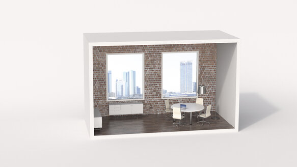 Model of a an urban board room with view of a skyline - UWF01208
