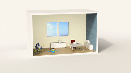 Model of a home office with child's play corner - UWF01214