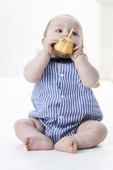 Baby boy eating birthday cake - FSF00921