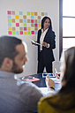 Businesswoman leading a presentation in office - GIOF02659
