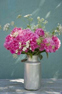 Bunch of pink peonies, yarrows and horseradish flowers - GISF00289