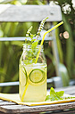 Glass of ice-cooled homemade lime cucumber lemonade with mint leaves - GWF05233