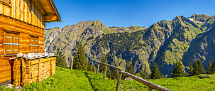 Germany, Bavaria, Allgaeu Alps, view from Lower Lugenalpe to Seekoepfle - WG01087