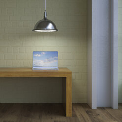 Laptop on table under lamp, 3d rendering - UWF01227