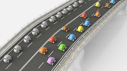 Toy car traffic on motorway, 3d rendering - UWF01233