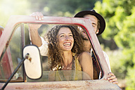 Happy young couple at old pick up truck - ZEF13890