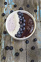 Bowl of yoghurt with blueberry mush, coconut flakes and blueberries - ODF01524