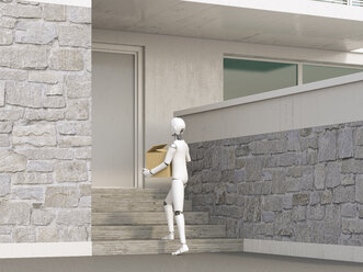Robot delivering cardboard box to door step - AHUF00369