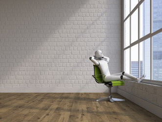 Robot sitting on swivel chair, looking out of window - AHUF00372