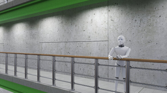 Robot standing in corridor, leaning on railing - AHUF00375