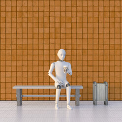 Robot sitting on bench at platform, drinking coffee - AHUF00378