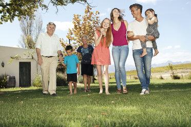 Happy extended family in garden - ZEF13943