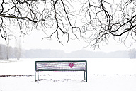Embroidered heart at bench in winter landscape - PSTF00046
