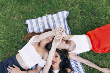 Friends in a park lying on blanket raising their arms - JPF00225