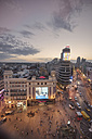 Spain, Madrid, cityscape with Callao square and Gran Via street at sunset - DHC00080