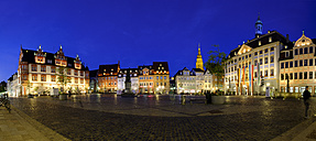 Germany, Bavaria, Coburg, market square with town hall and town house at night - SIEF07438