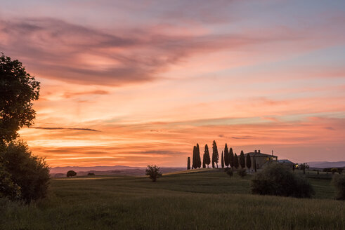 Italy, Tuscany, Val d'Orcia, Pienza, farmhouse at sunset - LOMF00594