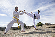 Man doing a high kick during a martial arts combat - ABZF02112