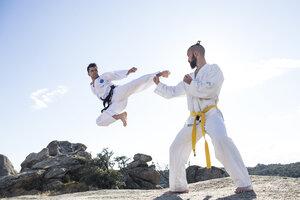 Man doing a jump kick during a martial arts combat - ABZF02121