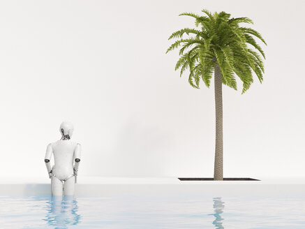 Robot getting out of swimming pool, 3d rendering - AHUF00395