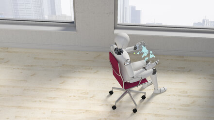 Robot sitting on office chair using futuristic tablet, 3d rendering - AHUF00398