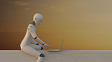 Robot sitting on wall using laptop, 3d rendering - AHUF00401